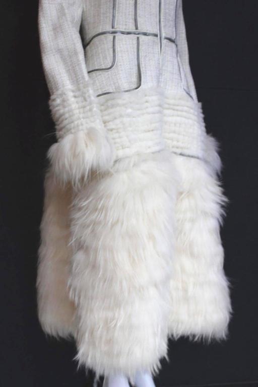 Alexander McQueen Fall 2011 Paris Collection White Mink Fur Coat 44 uk 12  5