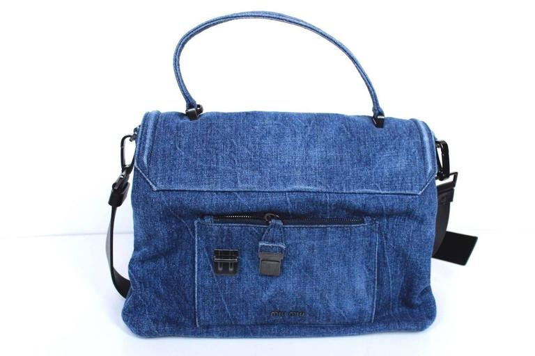 New MIU MIU Borsa Denim Blue Satchel Bag  2