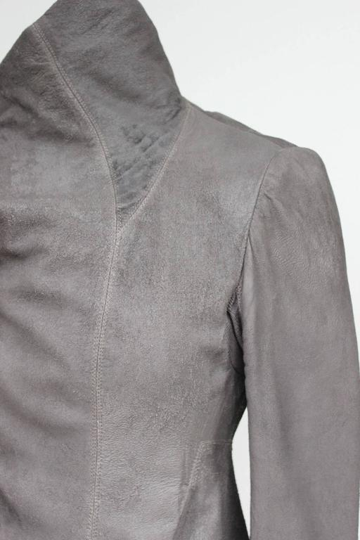 Rick Owens Celebrity Taupe brown blistered washed leather jacket UK 10   6