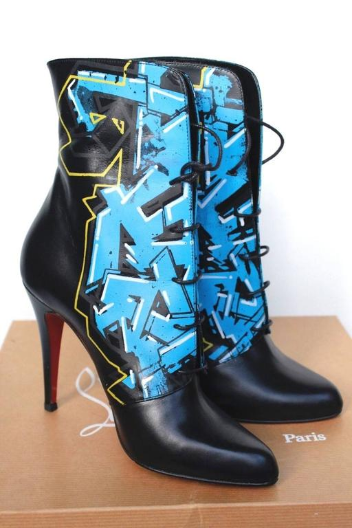 CHRISTIAN LOUBOUTIN Madison Graffiti Black Leather Boots 38 uk 5    3