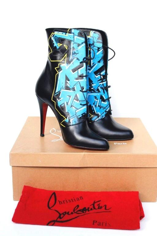 CHRISTIAN LOUBOUTIN Madison Graffiti Black Leather Boots 38 uk 5    2