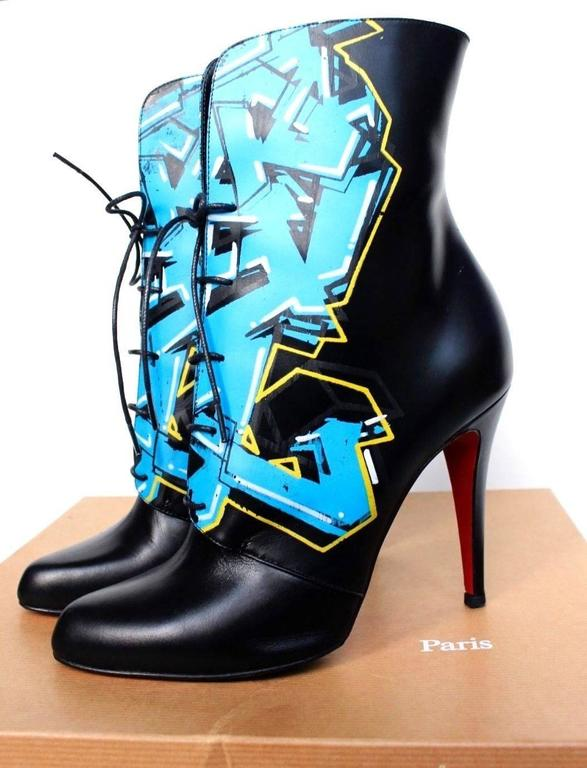 CHRISTIAN LOUBOUTIN Madison Graffiti Black Leather Boots 38 uk 5    4