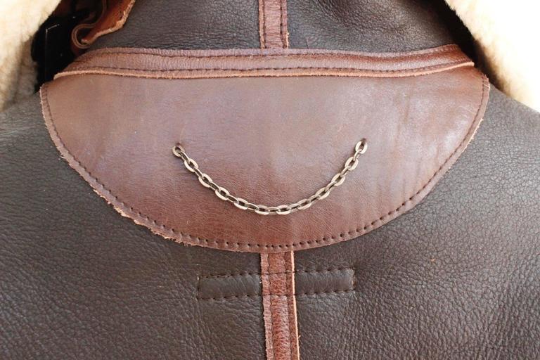 "Balenciaga Leather ""Palma"" Aviator Jacket Shearling Interior & Trim  F40 uk 12   4"