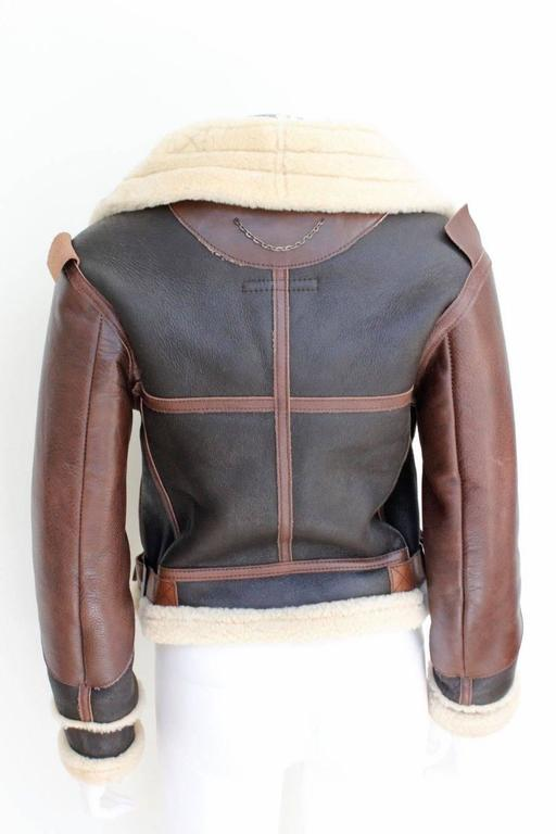"Balenciaga Leather ""Palma"" Aviator Jacket Shearling Interior & Trim  F40 uk 12   5"