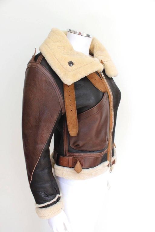 "Balenciaga Leather ""Palma"" Aviator Jacket Shearling Interior & Trim  F40 uk 12   6"