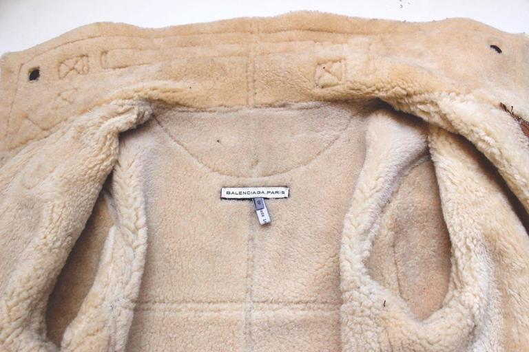 "Balenciaga Leather ""Palma"" Aviator Jacket Shearling Interior & Trim  F40 uk 12   7"