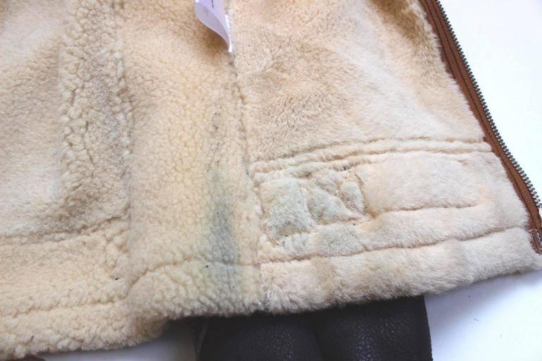 "Balenciaga Leather ""Palma"" Aviator Jacket Shearling Interior & Trim  F40 uk 12   8"