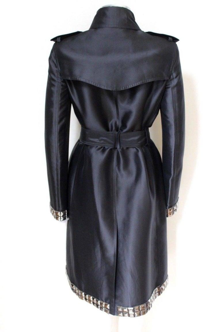 New DAVID KOMA Leather Wool Fur Woven Detail Coat UK 10   6
