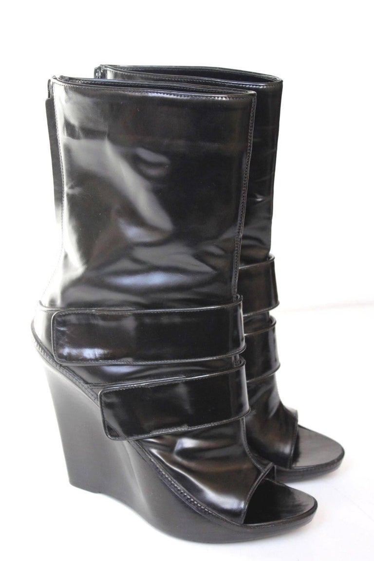 givenchy black patent leather wedge midi boots 40 5 uk 7 5