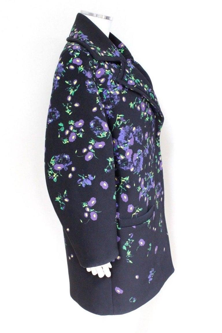Erdem Black Floral Oversized Coat Uk 8   3