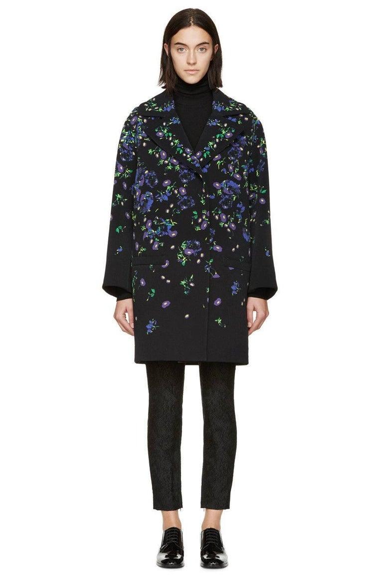 Erdem Black Floral Oversized Coat Uk 8   2