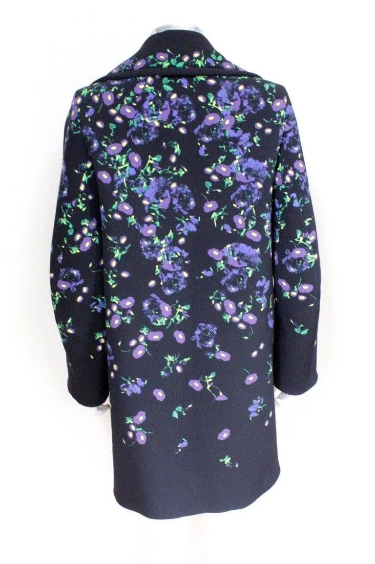 Erdem Black Floral Oversized Coat Uk 8   4