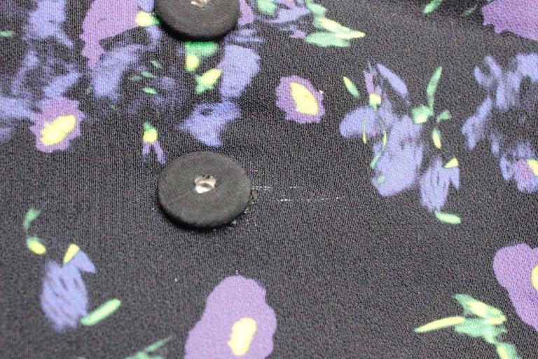 Erdem Black Floral Oversized Coat Uk 8   6