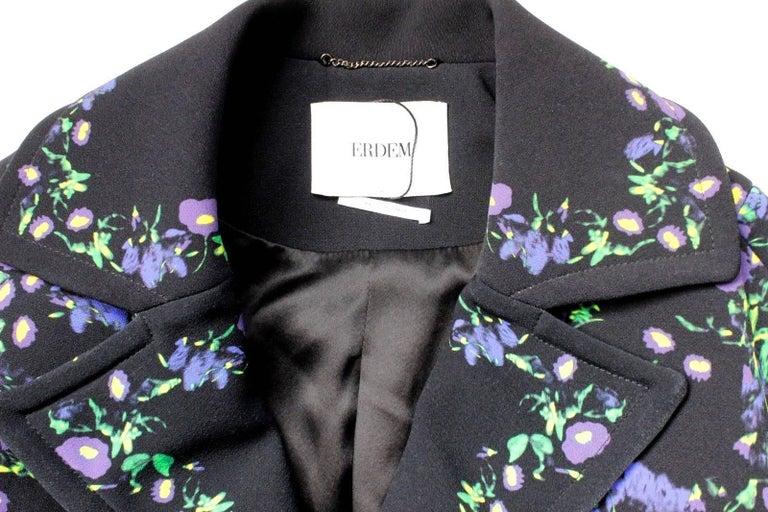 Erdem Black Floral Oversized Coat Uk 8   8