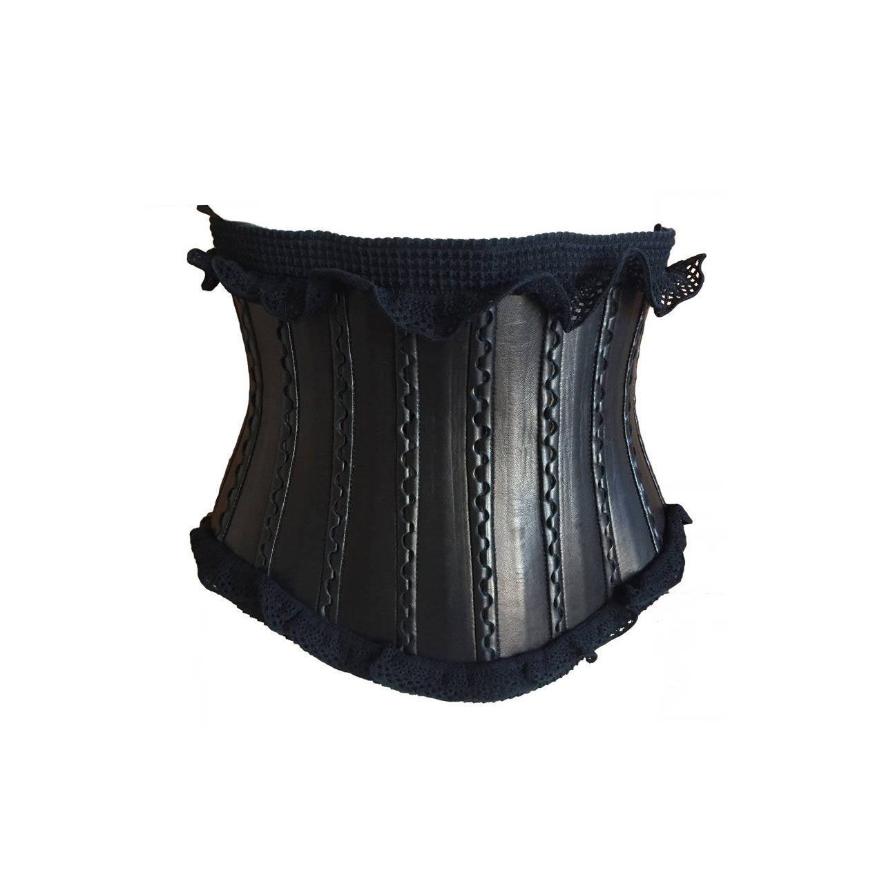 alaia wide black leather corset belt with ruffle edge at