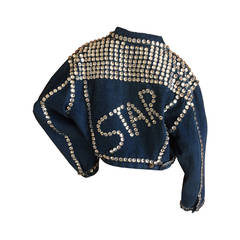 """Dolce & Gabbana VIntage Cropped Pearly Queen """"Star"""" Denim Jacket"""