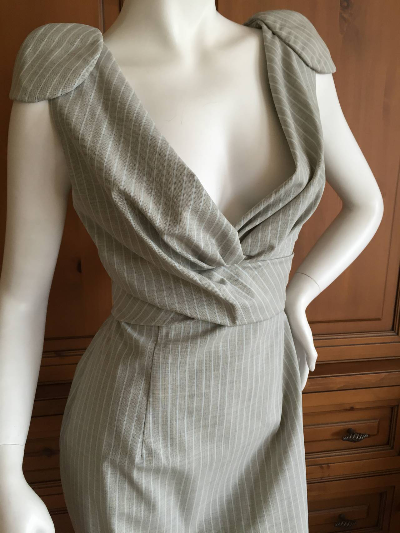 Alexander McQueen Pinstripe Dress 2009 NWT 4