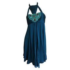 Andrew Gn Paris Silk Dress w Turquoise & Malachite Jeweled Bust