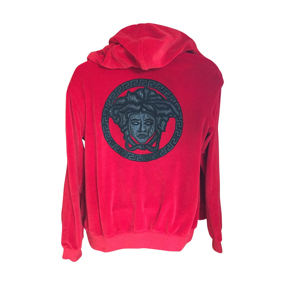 Versace Mens Velour Hoodie Track Jacket w Embroidered Leather Medusa For  Sale cb83eec0b16