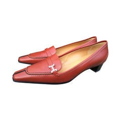 Hermes Cognac Loafers with H Buckle New in Box 9