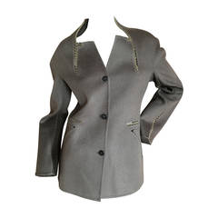 Chado Ralph Rucci Leather Trimmed Cashmere Jacket