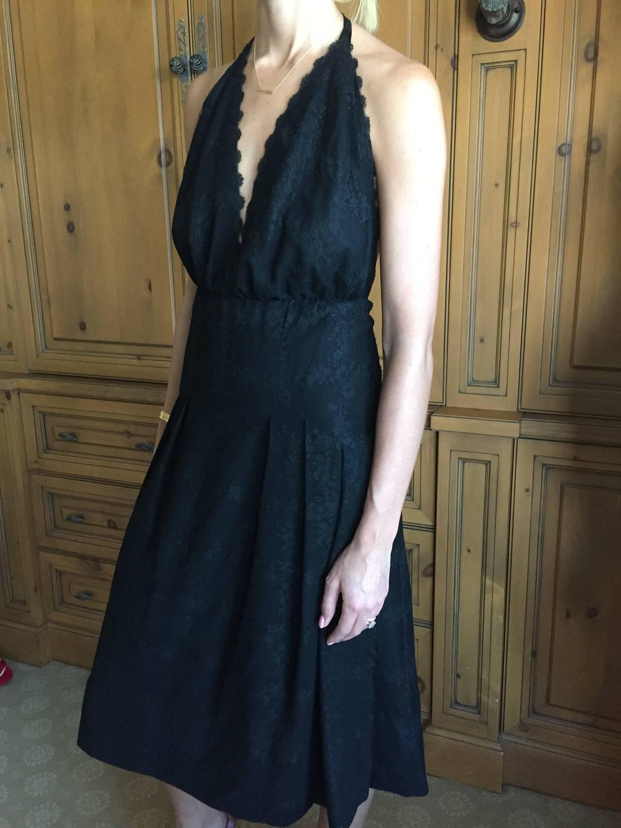 galanos backless halter black lace cocktail dress for sale