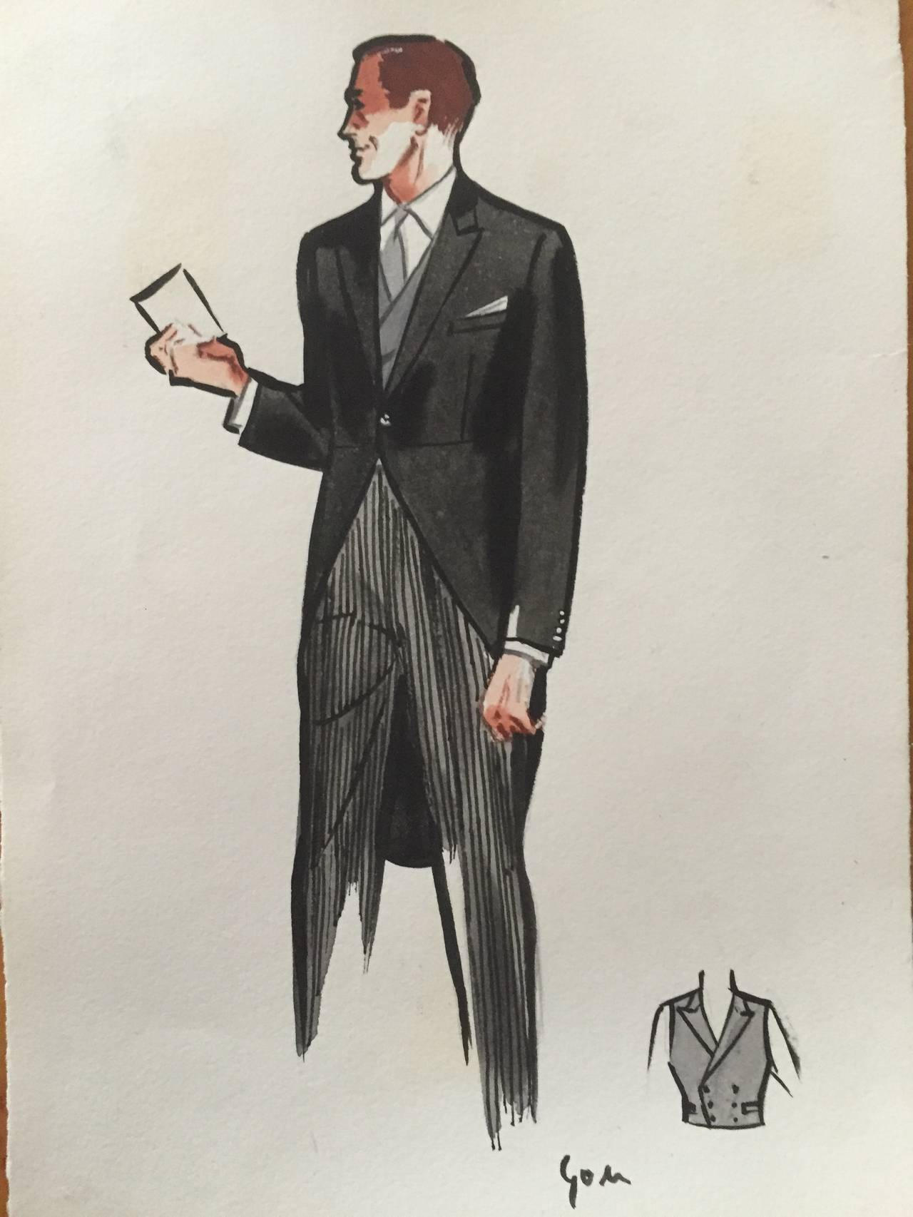 rene gruau original mens fashion illustration morning