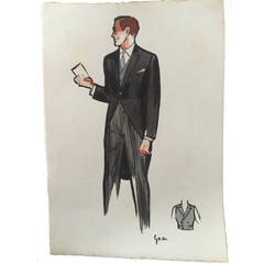 Rene Gruau Original Mens Fashion Illustration ; Morning Suit
