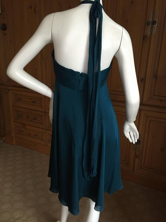 """Andrew Gn Paris Silk Dress w Turquoise & Malachite Jeweled Bust. This is such a pretty dress, empire style with genuine turquoise and malachite embellishments. Size 38 Bust 36"""" Waist 29"""" Hips 40"""" Length 38"""" Excellent condition"""