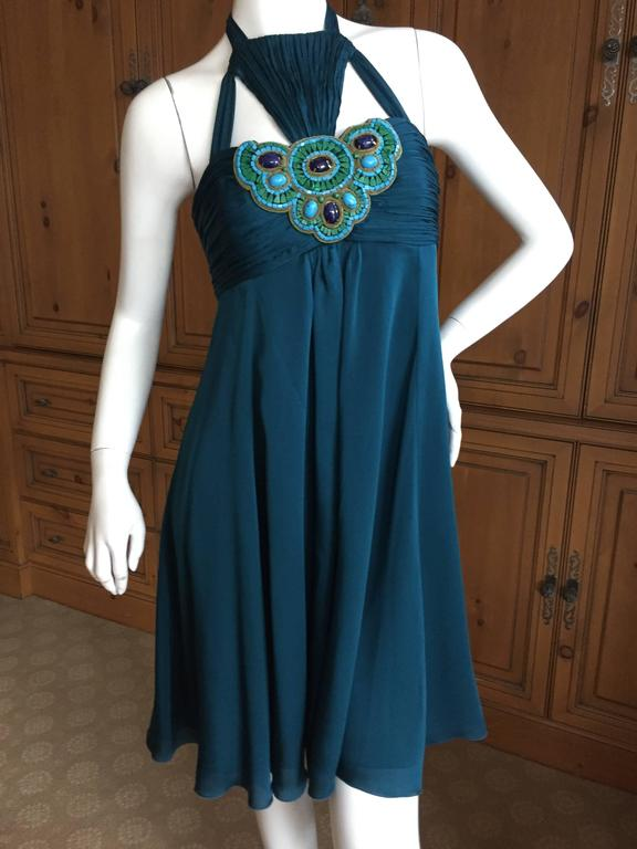 Andrew Gn Paris Silk Dress w Turquoise & Malachite Jeweled Bust In Excellent Condition For Sale In San Francisco, CA