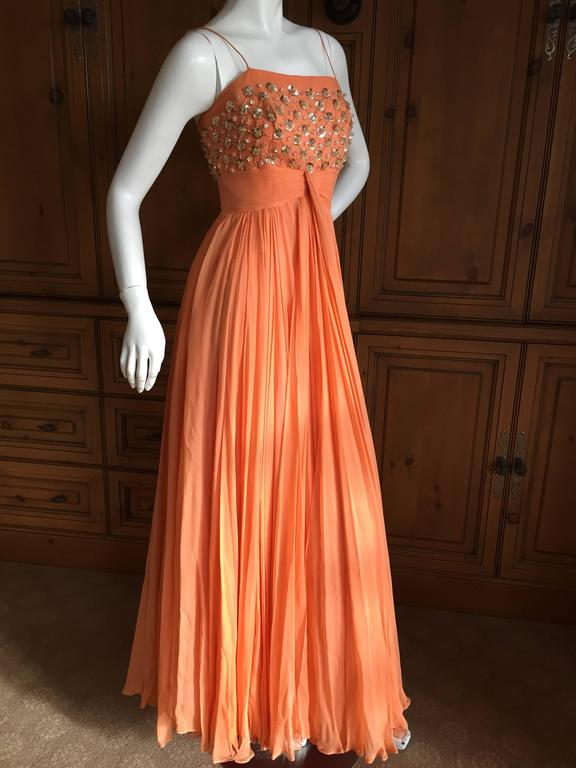 1950 Silk Chiffon Embellished Evening Dress from Saks Fifth Avenue ...