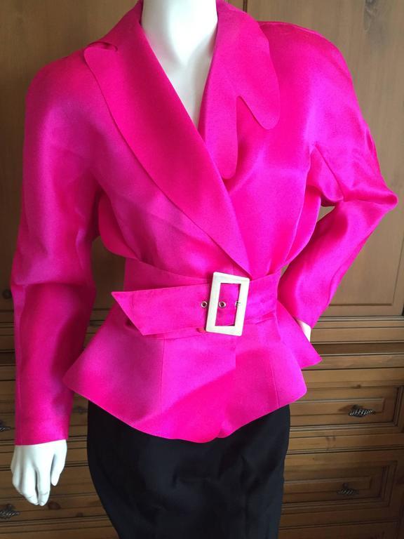 Thierry Mugler Shocking Pink Silk Suit with Belt 2