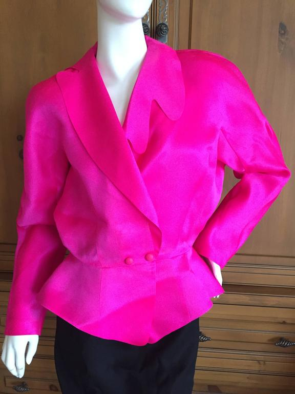 Thierry Mugler Shocking Pink Silk Suit with Belt 3