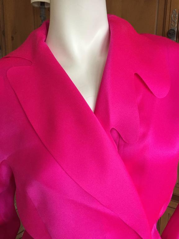 Thierry Mugler Shocking Pink Silk Suit with Belt 4