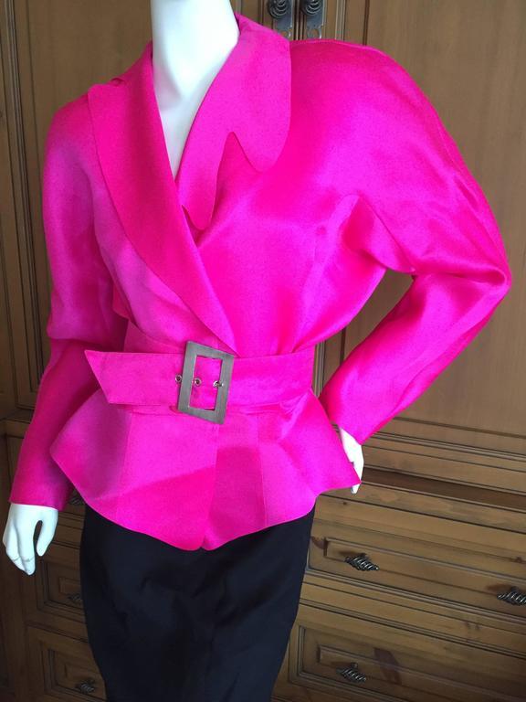 Thierry Mugler Shocking Pink Silk Suit with Belt 5
