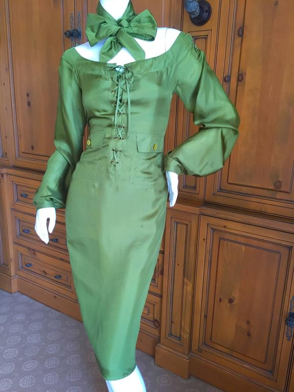"""Tom Ford for Yves Saint Laurent Silk Safari Dress. This is so sweet, with corset lace bust , comes with sash / belt. Size 38 Bust 36"""" Waist 34"""" Hips 40"""" Length 42"""" Excellent condition"""