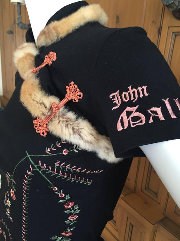 """Wonderful floral embroidered short sleeve top from John Galliano, circa 1994.   Trimmed in very soft fur, orlyag is a type of rabbit bred and raised in France to resemble chinchilla.  Sz S   Bust 38"""" Waist 30 Length 21""""   Excellent condition"""