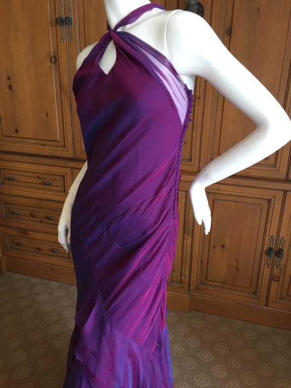 Christian Dior Iridescent Purple Silk Chiffon Evening Dress In Excellent Condition For Sale In San Francisco, CA