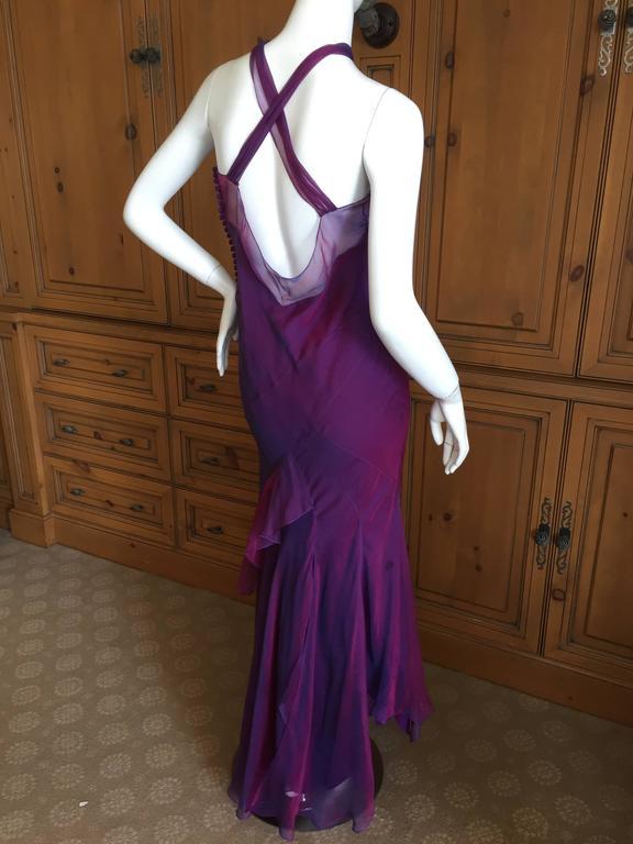 Christian Dior Iridescent Purple Silk Chiffon Evening Dress For Sale 1