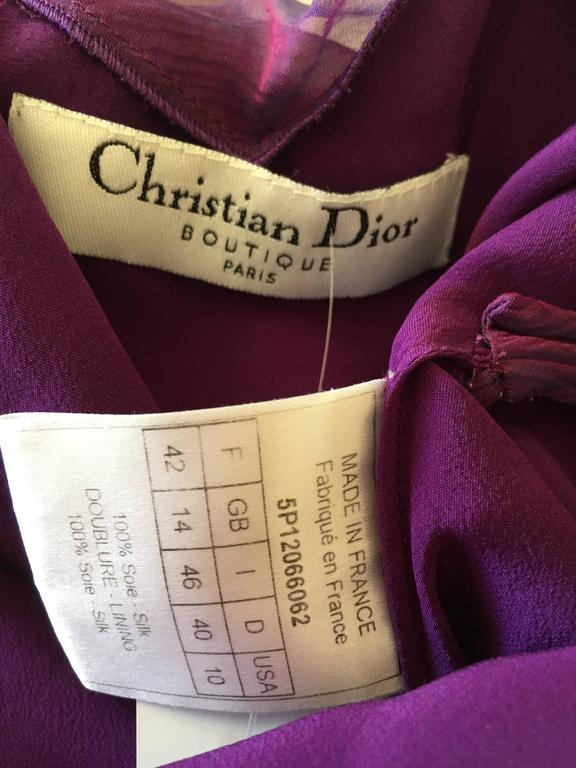 Christian Dior Iridescent Purple Silk Chiffon Evening Dress For Sale 3