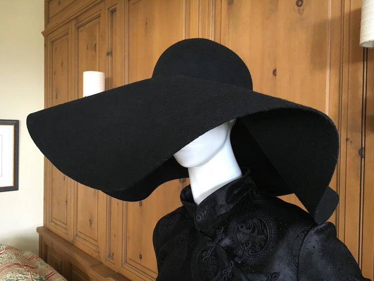 4ab4044b318 Yves Saint Laurent Rive Gauche Wide Brim Black Hat New   Tags In New  Condition For