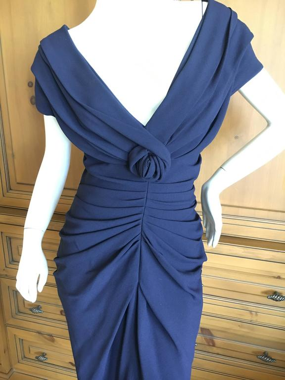 Christian Dior by John Galliano Low Cut Navy Blue Cocktail Dress 2