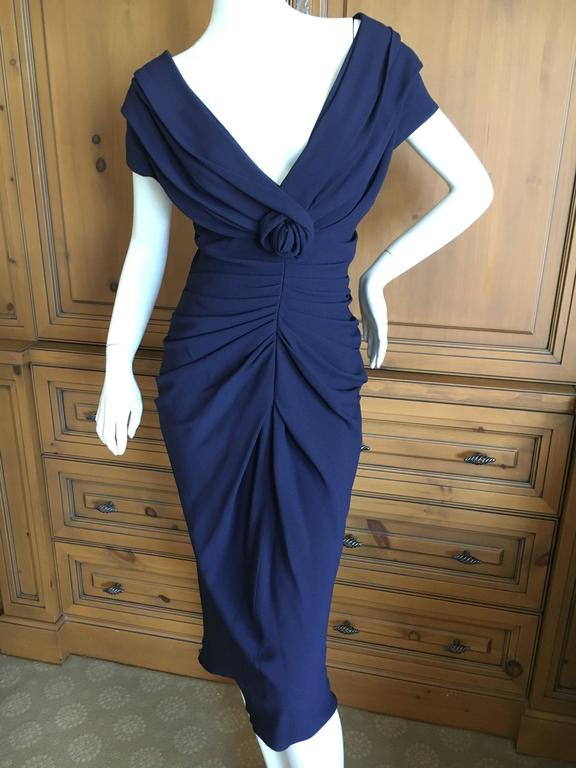 Christian Dior by John Galliano Low Cut Navy Blue Cocktail Dress 3