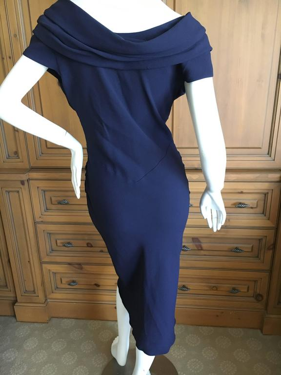 Christian Dior by John Galliano Low Cut Navy Blue Cocktail Dress 6
