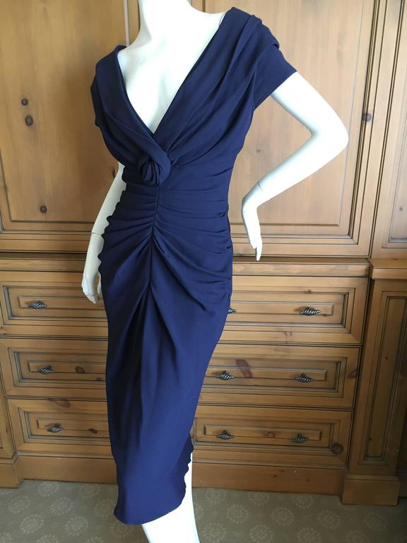 Christian Dior by John Galliano Low Cut Navy Blue Cocktail Dress 4