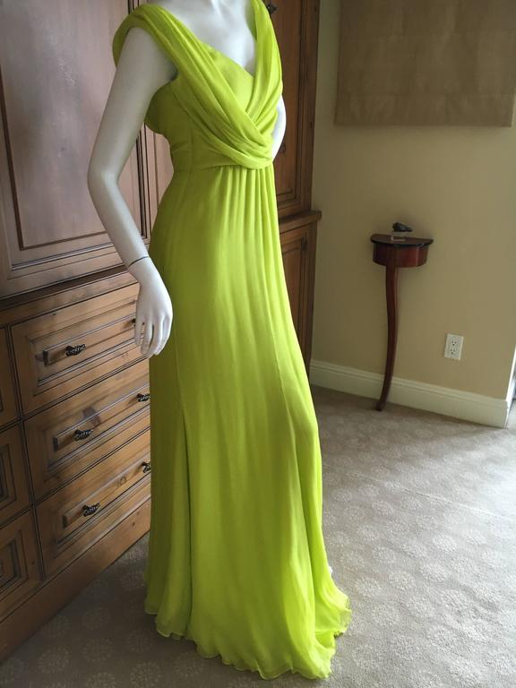 Brown Oscar de la Renta Neon Green Silk Chiffon Goddess Gown For Sale