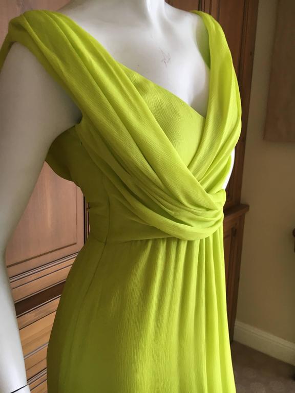 Women's Oscar de la Renta Neon Green Silk Chiffon Goddess Gown For Sale