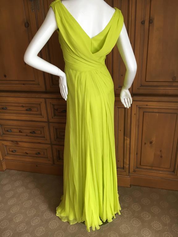 Oscar de la Renta Neon Green Silk Chiffon Goddess Gown For Sale 1