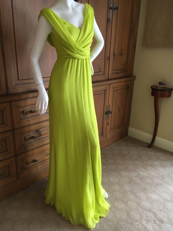 Oscar de la Renta Neon Green Silk Chiffon Goddess Gown For Sale 2