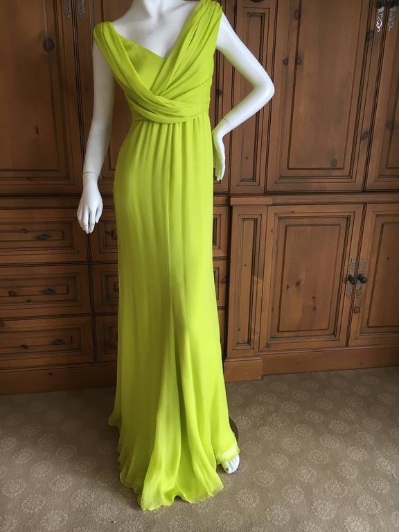 Oscar de la Renta Neon Green Silk Chiffon Goddess Gown For Sale 3